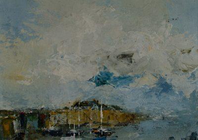 Porlock Weir West Somerset with Sailing Craft Mandy Selhurst Artist