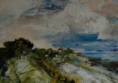 Cottage in the distance at Porlock Weir West Somerset